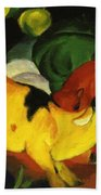 Cows Yellow Red Green 1912 Beach Towel