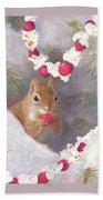Cranberry Garlands Christmas Squirrel Beach Sheet