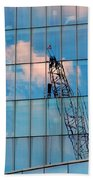 Crane Reflection - Atlantic City Beach Towel