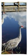 Cranes At The Lake Beach Towel