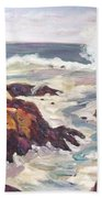 Crashing Wave On Maine Coast Beach Towel