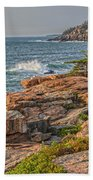 Crashing Waves At Otter Cliff Beach Towel