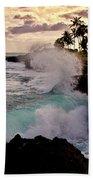 Crashing Waves At Sunset Beach Towel