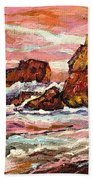 Crashing Waves At Sunset  Majestic Seascape Beach Towel
