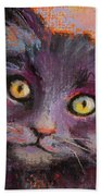 Crazy Cat Black Kitty Beach Towel