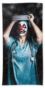 Crazy Doctor Clown Laughing In Rain Beach Towel