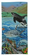 Creation Fifth Day Sea Creatures And Birds Beach Towel