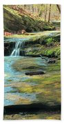 Creek In Dappled Light At Don Robinson State Park 1 Beach Towel