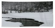 Creek In Snowy Landscape Beach Towel