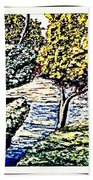 Creek In The Forest Framed Beach Towel