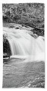 Creek Merge Waterfall In Black And White Beach Towel