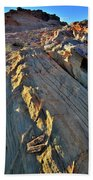 Crest Of Sandstone Wave At Sunset In Valley Of Fire Beach Towel