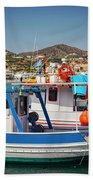 Crete Fishing Boats Beach Towel