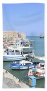 Crete Island Harbour  Beach Towel