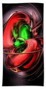 Crimson Affection Abstract Beach Towel