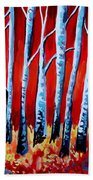 Crimson Birch Trees Beach Sheet