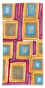 Crimson Gold And Squares  Beach Towel