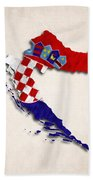 Croatia Map Art With Flag Design Beach Towel