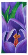 Crocus Flowers Beach Towel