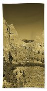 Crooked River At Smith Rock State Park Sepia Beach Towel