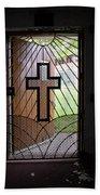 Cross On Church Door Open To Prison Yard Beach Towel