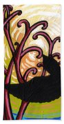 Crow And Full Moon In Winter Beach Towel