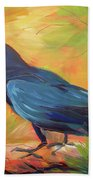 Crow In The Grass 7 Beach Towel