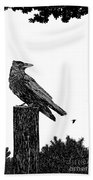 Crow On Fence Post Beach Towel