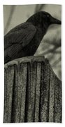 Crow Perched On A Old Column In Rain Beach Towel