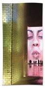 Crown Fountain At Millennium Park Beach Towel