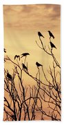 Crows In Their Twitter Cloud. Beach Towel