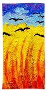 Crows Over Vincent's Field Beach Towel