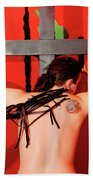 Crucified Young Man In A Bdsm Dungeon 7 Beach Towel
