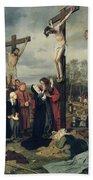 Crucifixion Beach Towel by Eduard Karl Franz von Gebhardt