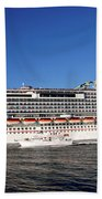 Cruise Ship Is Leaving The Port Beach Towel