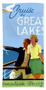 Cruise The Great Lakes Vintage Travel Poster Beach Towel