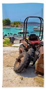 Crushed Tractor By The Sea On Island Prvic Beach Towel