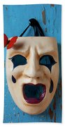 Crying Mask And Red Butterfly Beach Towel
