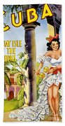 Cuba Holiday Isle Of The Tropics Vintage Poster Beach Sheet