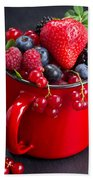 Cup Of Fresh Berries Beach Towel