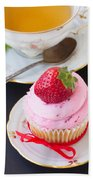 Cupcake With Strawberry Beach Towel