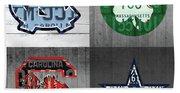 Custom 4 Team License Plates Sport Art No 1 Beach Sheet