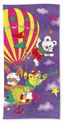 Cute Animals In Air Balloon Beach Towel