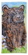 Cute Baby Black Bear Art Beach Towel