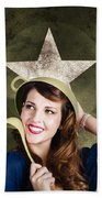 Cute Military Pin-up Woman On Army Star Background Beach Towel by Jorgo Photography - Wall Art Gallery