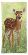Cute Whitetail Deer Fawn Beach Towel by Crista Forest