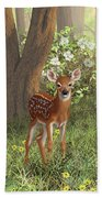 Cute Whitetail Fawn Beach Towel by Crista Forest