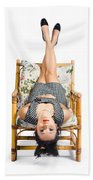 Cute Young Woman Sitting Upside Down On Chair Beach Towel