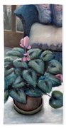 Cyclamen And Wicker Beach Towel