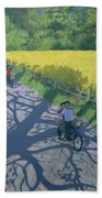 Cyclists And Yellow Field Beach Towel